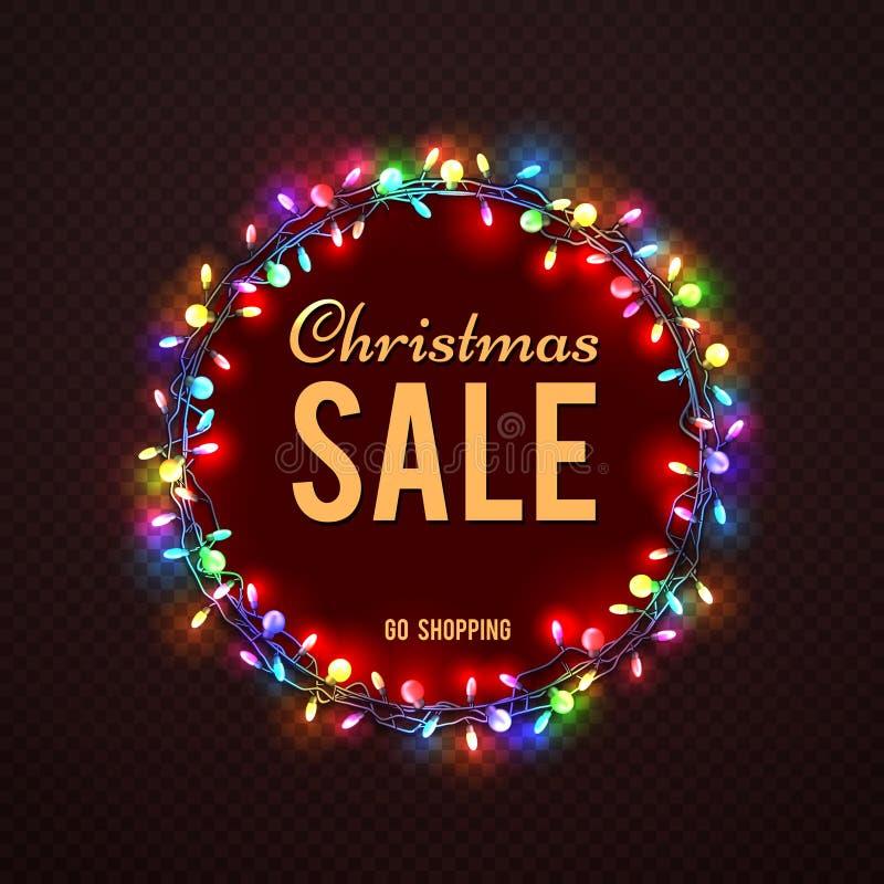 Mall för julSale baner med färgrika ljus vektor illustrationer