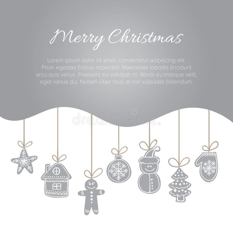 Mall för julvektorvykort med krabba kakor för för silvergrå färglutninggräns och pepparkaka vektor illustrationer