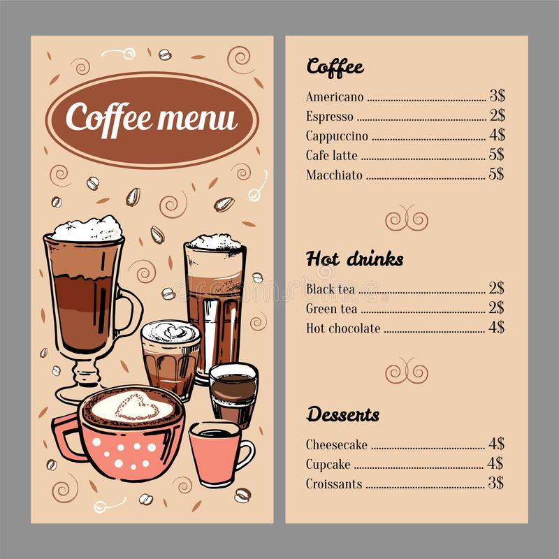 Mall för kaffemenydesign med listan av varma drinkar och efterrätter Illustration för färgrik hand för vektoröversikt utdragen royaltyfri illustrationer