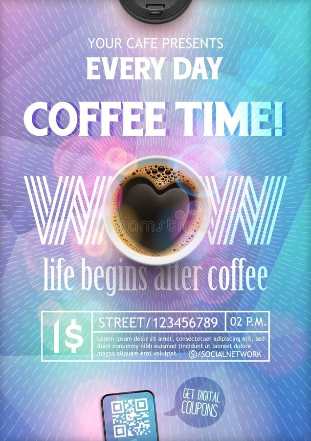 Mall för kaffetidreklamblad Orienteringen på färgrik bakgrund med strålar för broschyr, baner, inbjudan, broschyr, tapet royaltyfri illustrationer