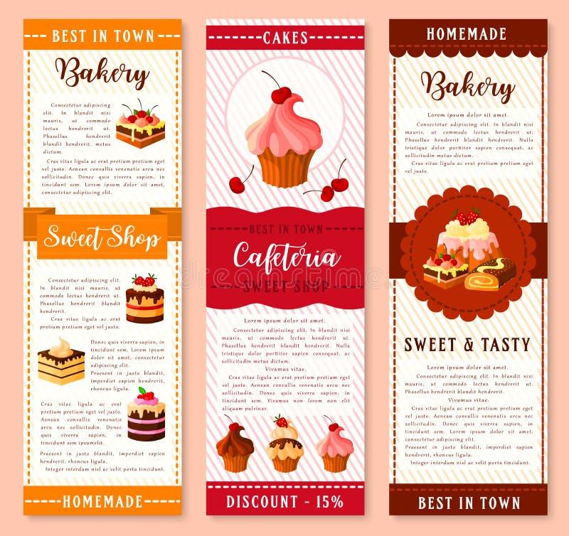 Mall för kaka-, bageri- och bakelseefterrättbaner vektor illustrationer