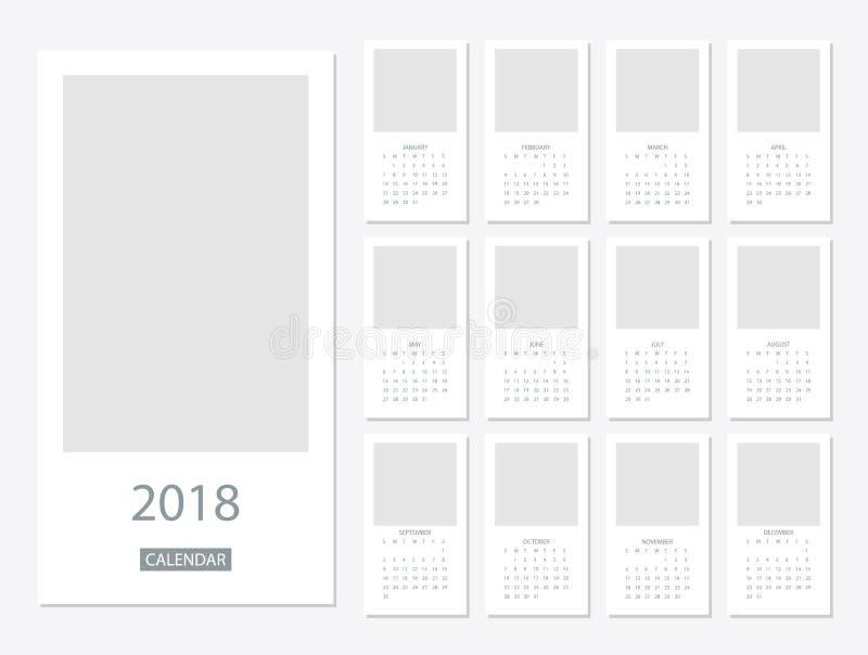 Mall för 2018 kalender royaltyfri illustrationer