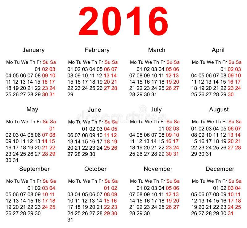 Mall för 2016 kalender Horisontalveckor Första dag måndag royaltyfri illustrationer