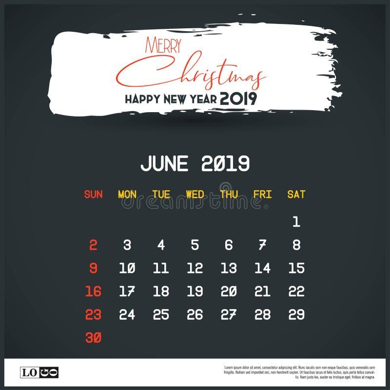 Mall för kalender Juni 2019 för nytt år Bakgrund f?r borsteslagl?ngdtitelrad royaltyfri illustrationer