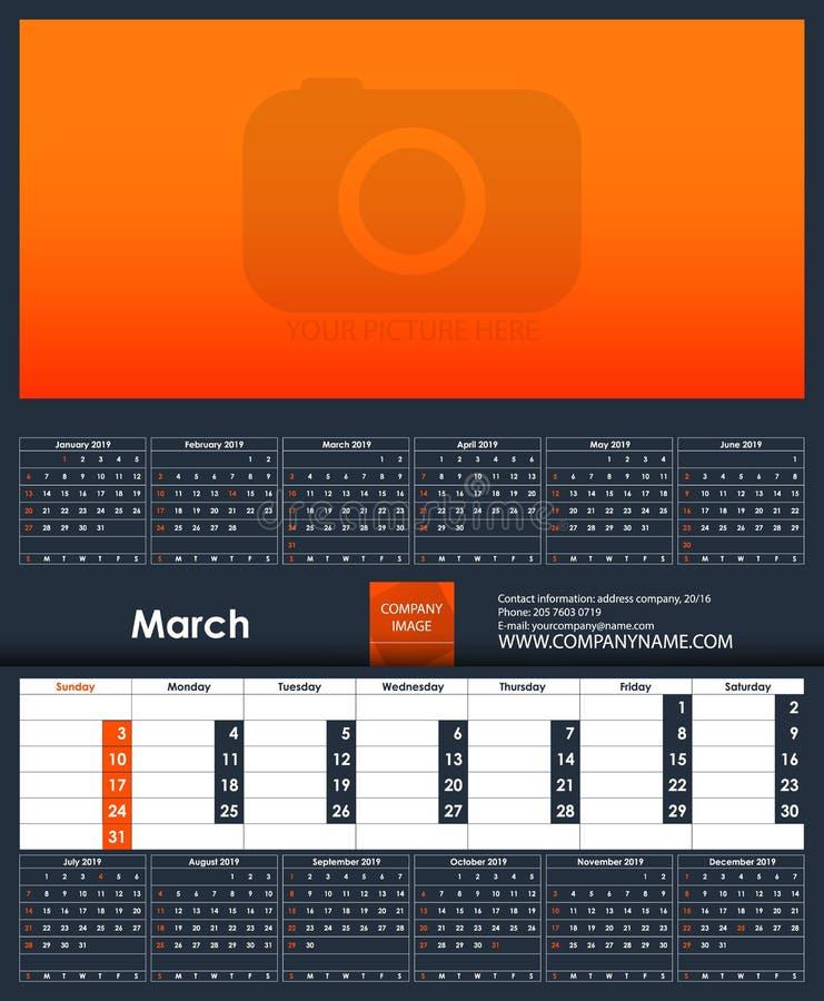 Mall för 2019 kalender marsch Ställe för ditt foto vektor illustrationer