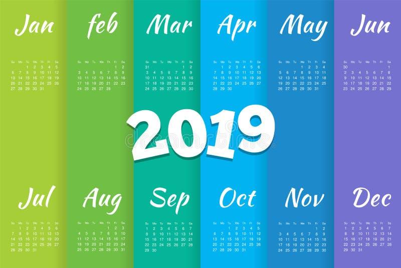 Mall för 2019 kalender Stilfull enkel minsta kalendermalldesign med veckan som startar söndag royaltyfri illustrationer