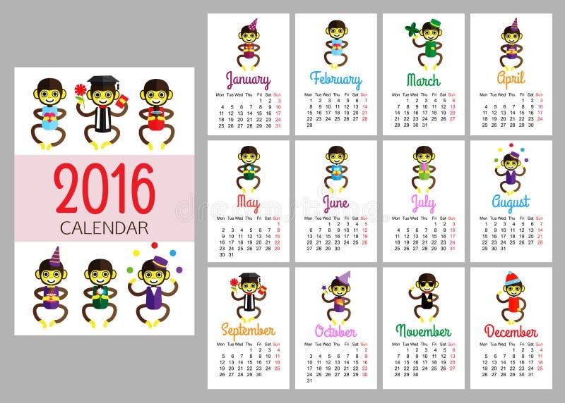 Mall för kalendervektortryck med roliga apor royaltyfri illustrationer