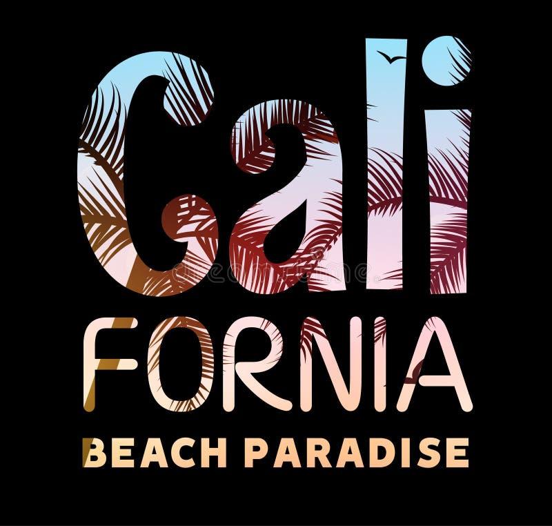 Mall för Kalifornien tropisk affischbaner För Kalifornien för typografistrandparadis design för sommar för tryck tappning vektor illustrationer