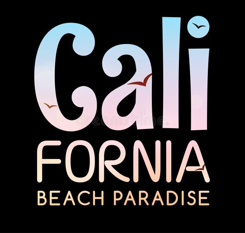 Mall för Kalifornien tropisk affischbaner För Kalifornien för typografistrandparadis design för sommar för tryck tappning royaltyfri illustrationer