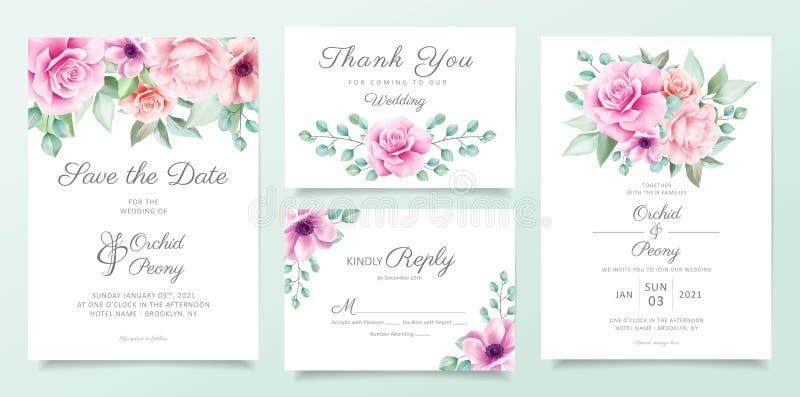 Mall för kallblodiga inbjudningskort för bröllop med lila och rosa blommor, bladdekoration Bakgrund för botaniskt kort royaltyfri illustrationer