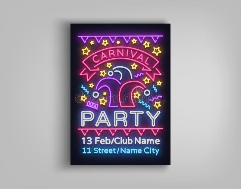 Mall för karnevalpartidesign, broschyr, affisch i neonstil Ljus lysande inbjudan till karnevalpartiet royaltyfri illustrationer