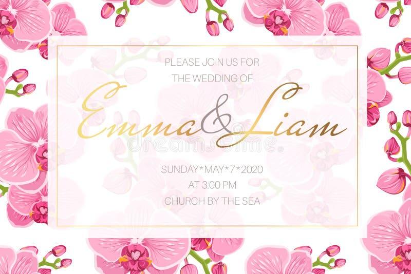 Mall för kort för bröllophändelseinbjudan Rektangulär gränsram som dekoreras med ljusa rosa orkidéphalaenopsisblommor vektor illustrationer
