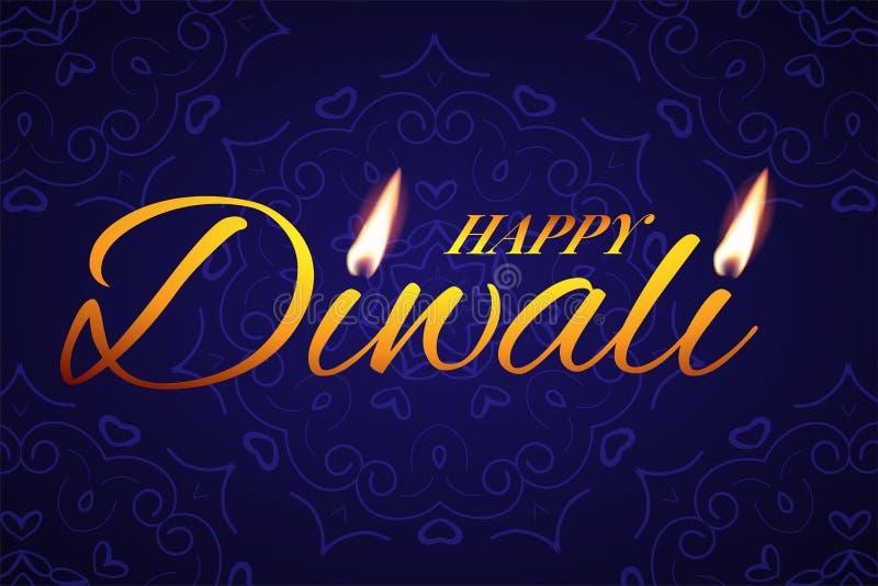 Mall för kort för Diwali festivalhälsning Tänder lycklig Diwali för vektorn text med stearinljuset på blå bakgrund stock illustrationer