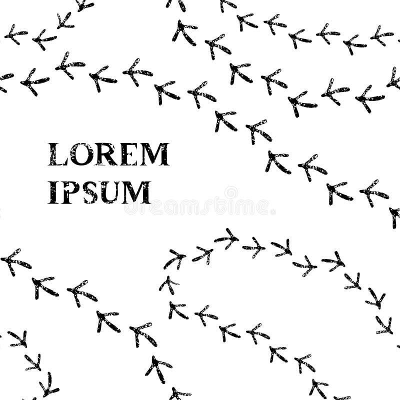 Mall för kort för fågelfotspår svartvit, vektor stock illustrationer