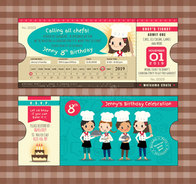 Mall för kort för födelsedag för biljett för logipasserande med kockar som lagar mat tema stock illustrationer
