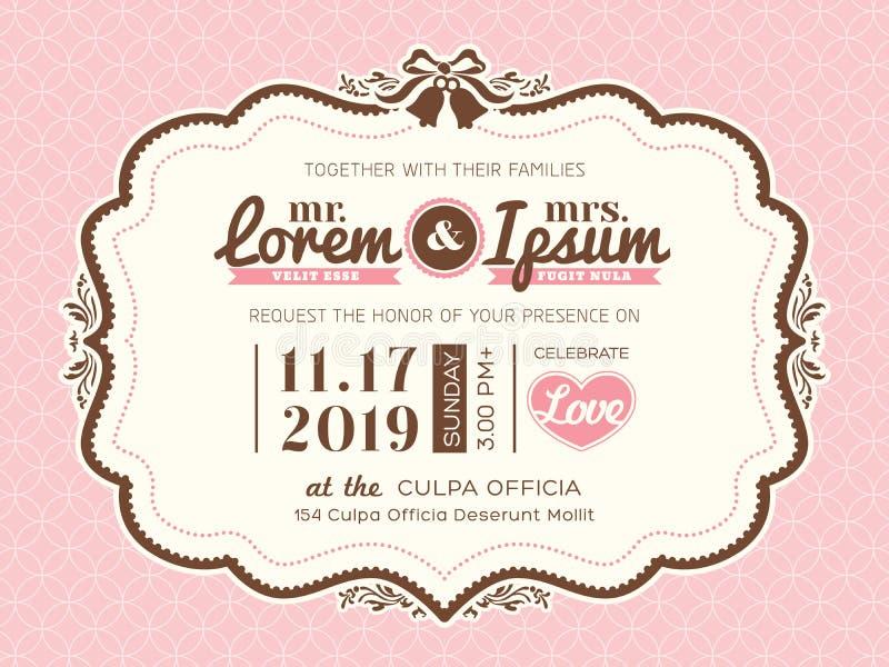 Mall för kort för inbjudan för tappningrambröllop royaltyfri illustrationer