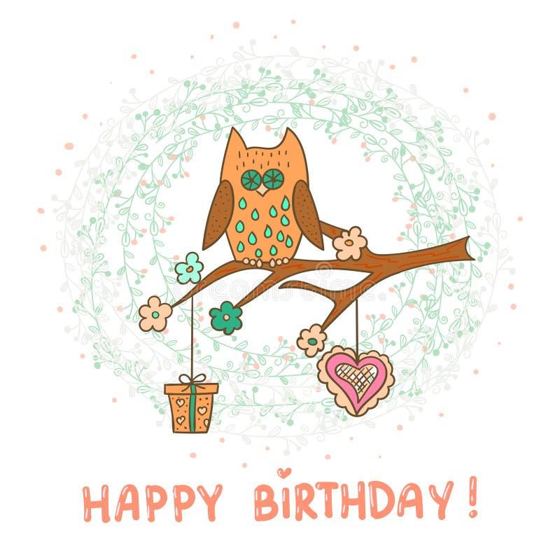 Mall för kort för lycklig födelsedag gullig owl för tecknad film vektor illustrationer