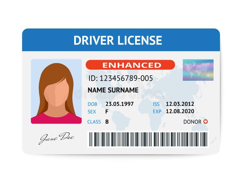Mall för kort för plant kvinnakörkort plast-, illustration för ID-kortvektor royaltyfri illustrationer