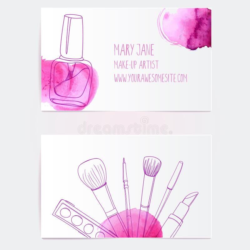 Mall för kort för sminkkonstnäraffär royaltyfri illustrationer