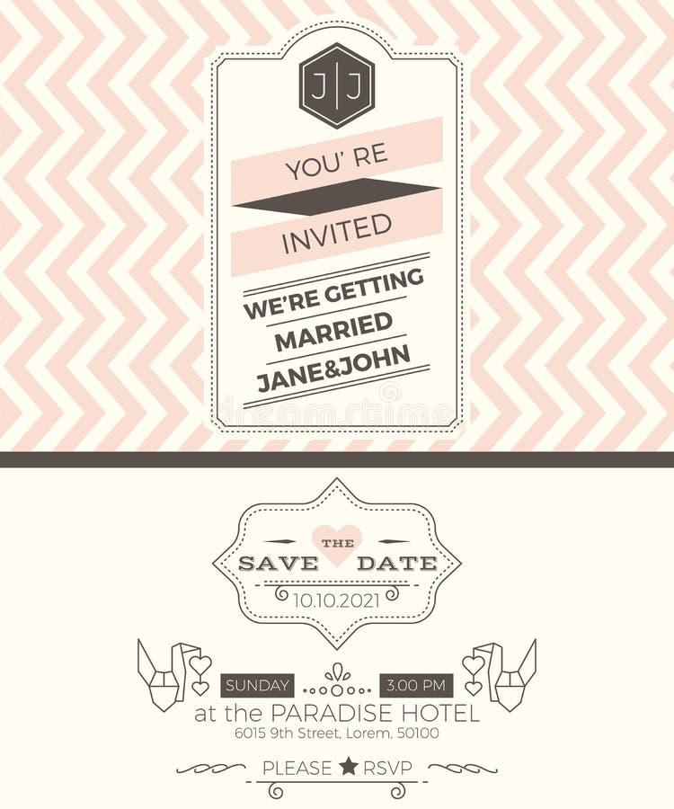 Mall för kort för tappningbröllopinbjudan royaltyfri illustrationer