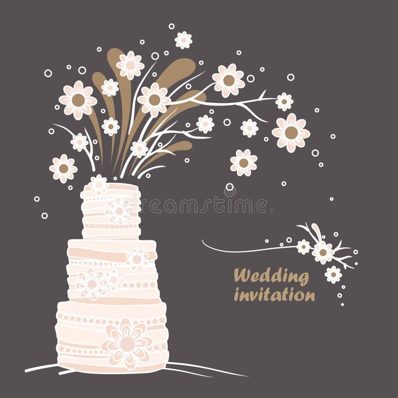 Mall för kort för tappningbröllopinbjudan. Bröllopstårta- och blommaillustration stock illustrationer