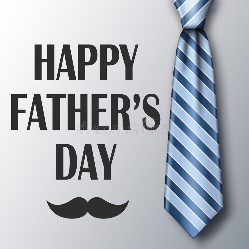 Mall för kort för hälsning för faderdag med bandet och mustaschen Blå randig slips med mjuk skugga ocks? vektor f?r coreldrawillu royaltyfri illustrationer
