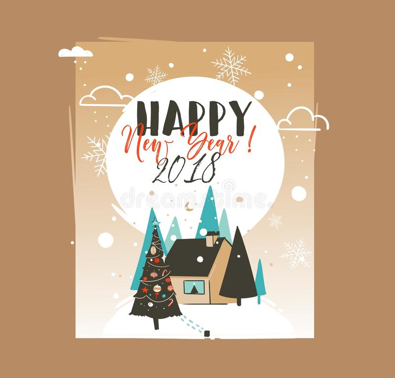 Mall för kort för hälsning för illustrationer för tecknad film för tid för hand dragen jul för vektorabstrakt begrepp glad och fö royaltyfri illustrationer