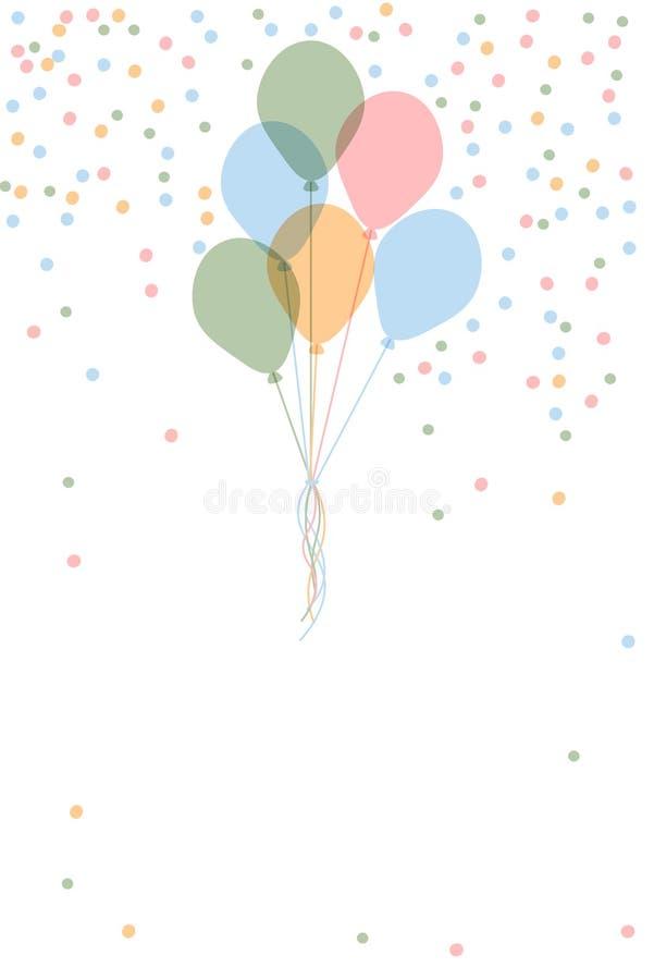 Mall för kort för hälsning för lycklig födelsedag för vektor med ballonger för gruppflyghelium och färgrika konfettier på vit bak vektor illustrationer