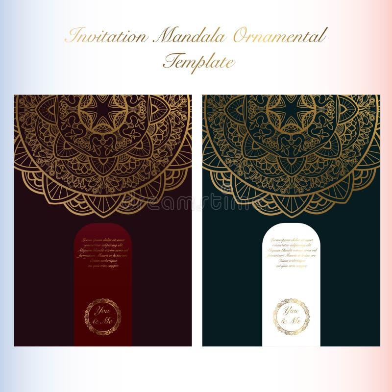 Mall för kort för inbjudan för Mandalakonstprydnad med tappningstil vektor illustrationer