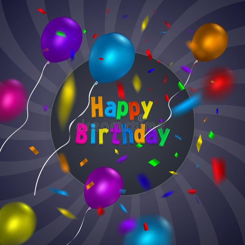 Mall för kort för lycklig födelsedag med en purpurfärgad bakgrund och färgrika ballonger Format för vektorEPS 10 stock illustrationer