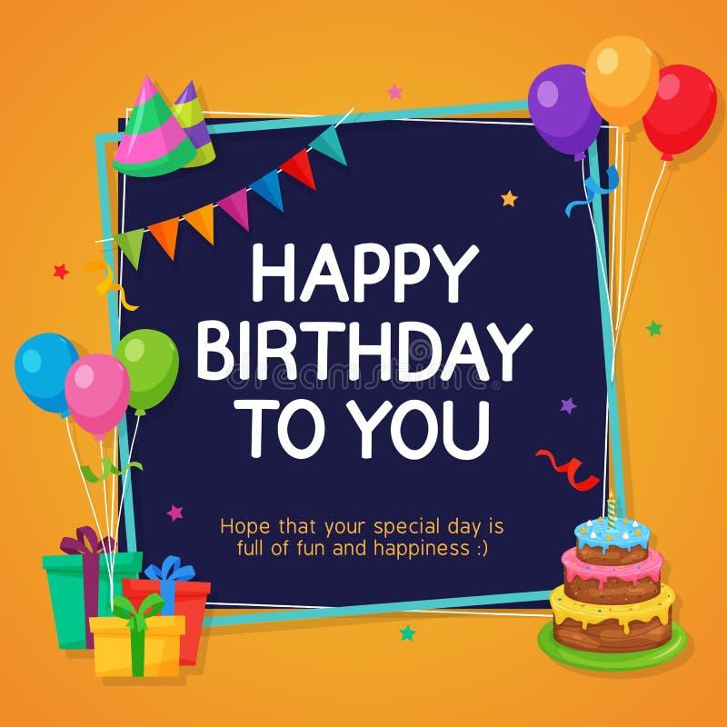 Mall för kort för lycklig födelsedag med partigarneringprydnaden vektor illustrationer