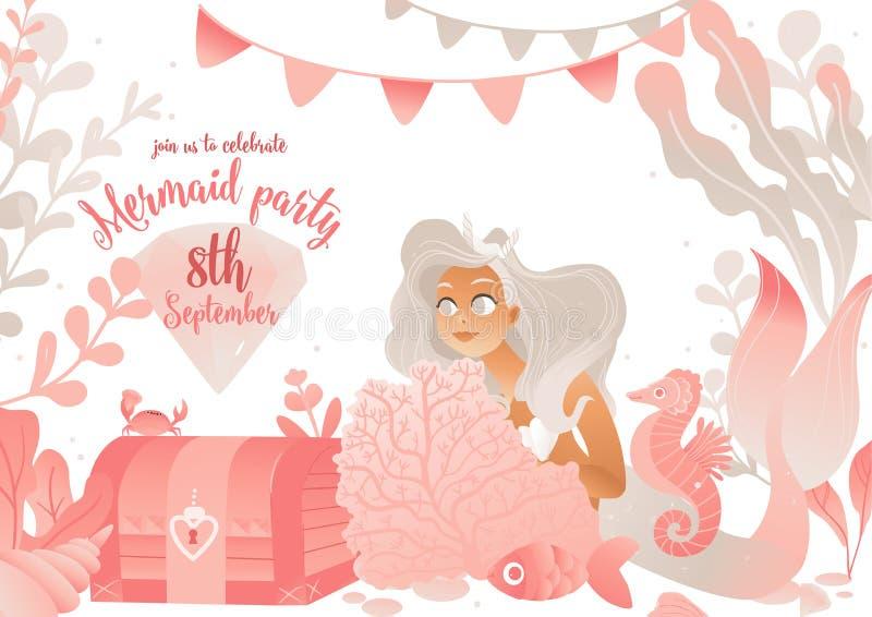 Mall för kort för sjöjungfrupartiinbjudan med den gulliga illustrationen för havsprinsessavektor stock illustrationer