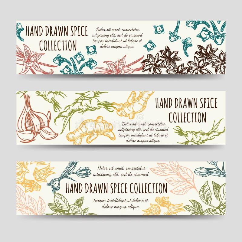 Mall för krydda- och örttappningbaner stock illustrationer