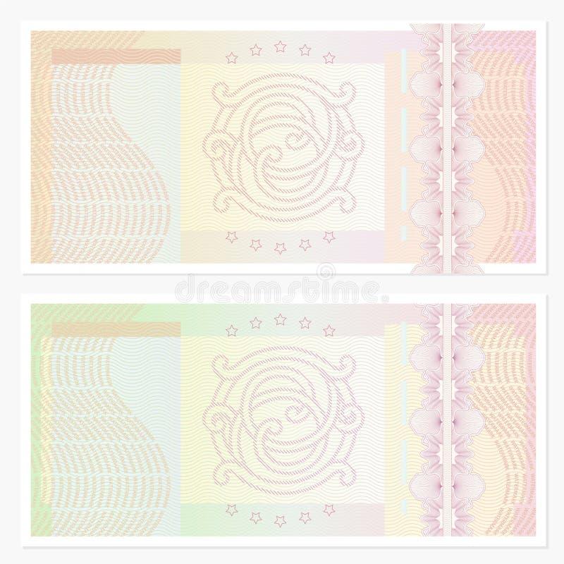 Mall för kupong (kupong) med guillochemodellen royaltyfri illustrationer