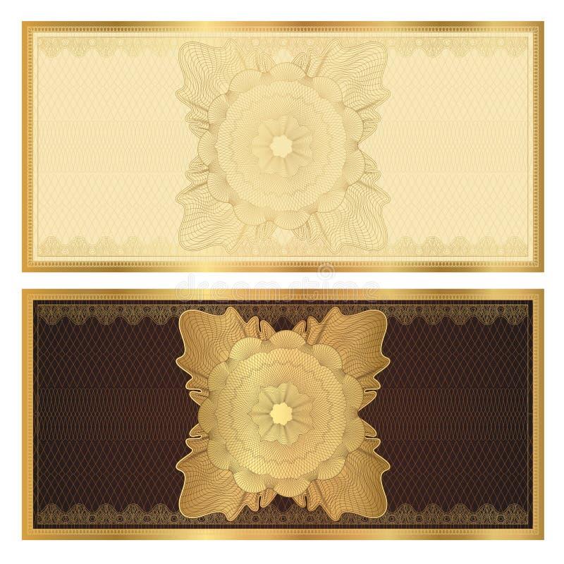 Mall för kupong (presentkort). Guld- modell vektor illustrationer