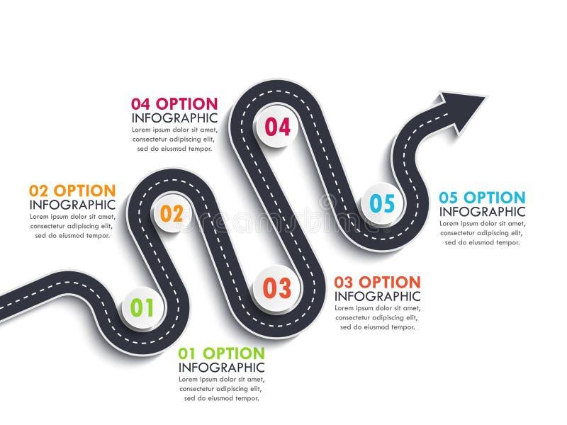 Mall för läge för vägväg infographic med en gradvis struktur Slingrig pilvägtimeline vektor illustrationer
