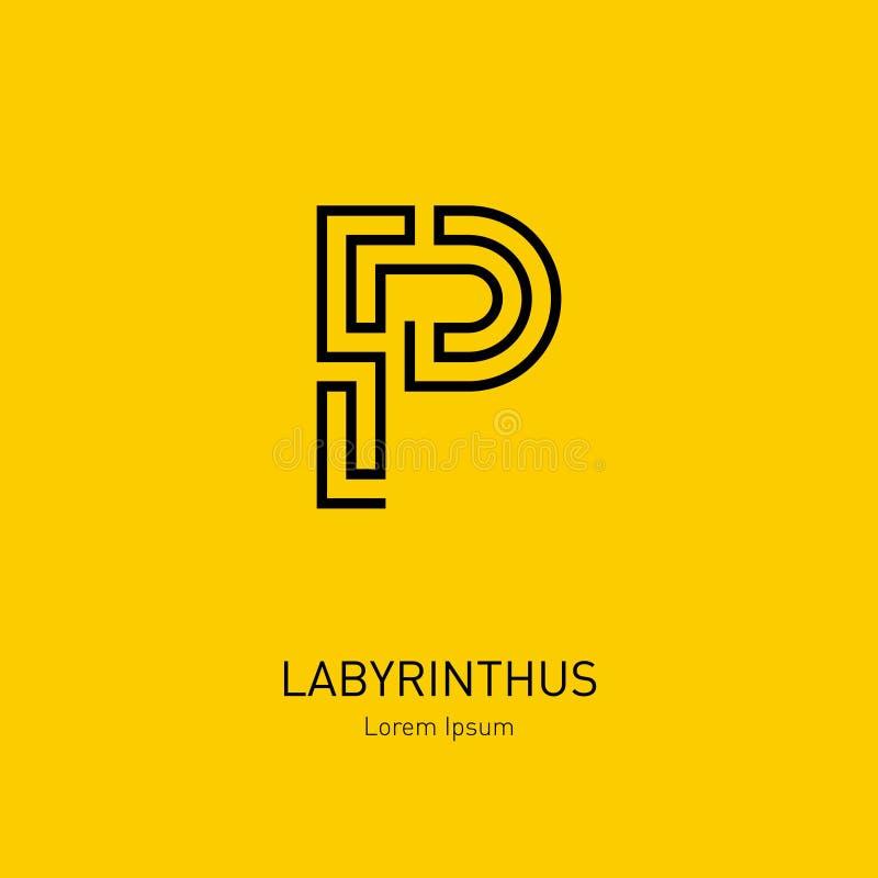 Mall för labyrintvektorlogo bokstav p Linje konstrebus, concep stock illustrationer