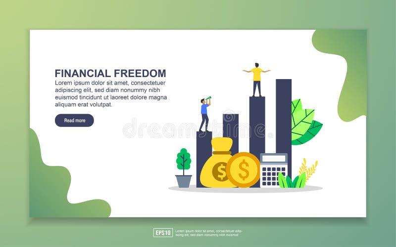Mall för landningssida för finansiell frihet Modern platt design av webbsidor för webbplats och mobila webbplatser Enkel att stock illustrationer