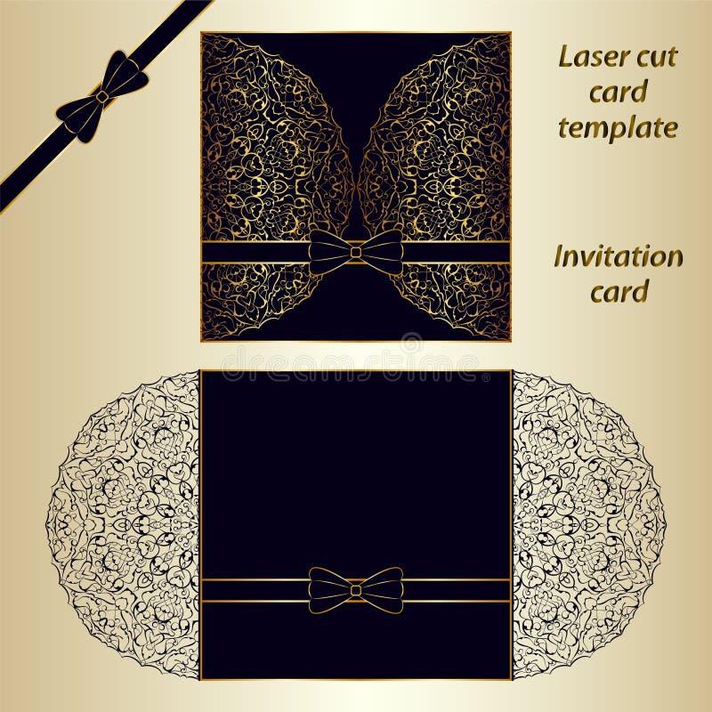 Mall för laser-snittkort vektor illustrationer