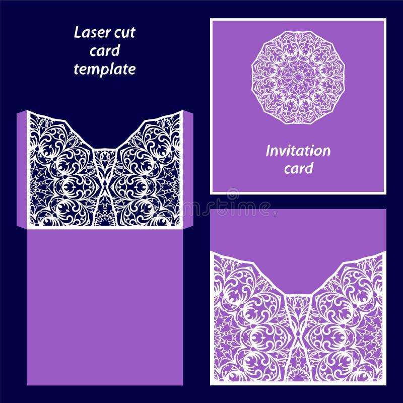 Mall för laser-snittkort royaltyfri illustrationer