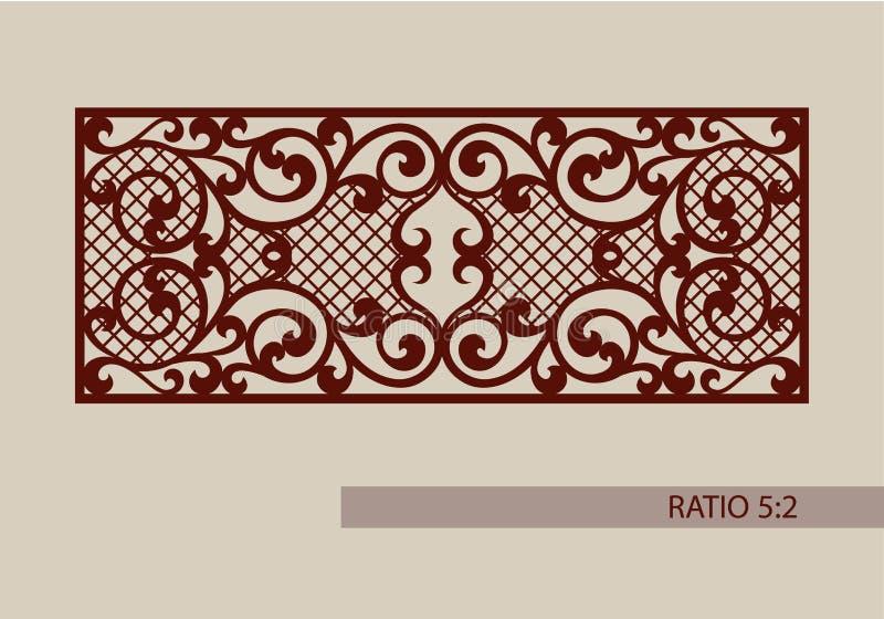 Mall för laser som klipper den dekorativa panelen stock illustrationer