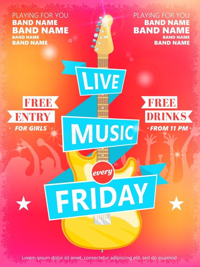 Mall för Live Music Every Friday vektoraffisch Ideal för tryckbar konsertbefordran i klubbor, stänger, barer och offentligt vektor illustrationer