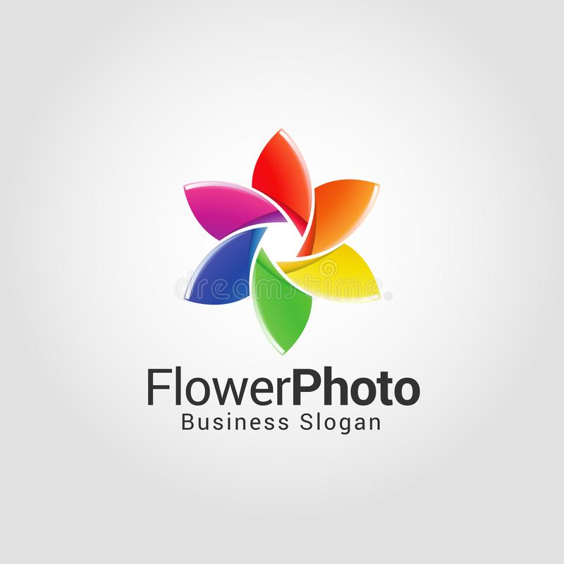 Mall för logo för blommafotografistudio vektor illustrationer