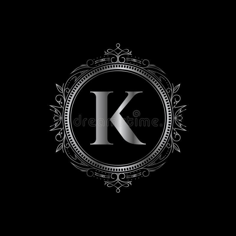 Mall för logo för bokstav för K-initialmonogram med den lyxiga prydnaden royaltyfri bild