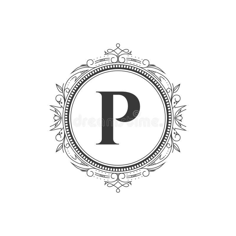 Mall för logo för bokstav för p-initialmonogram med den lyxiga prydnaden vektor illustrationer