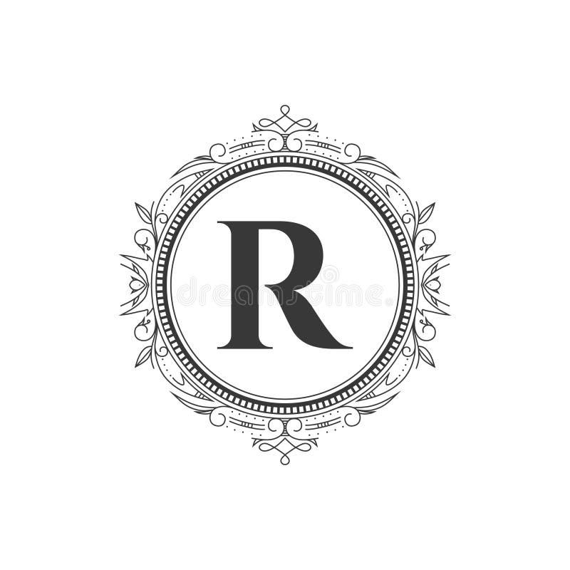 Mall för logo för bokstav för r-initialmonogram med den lyxiga prydnaden vektor illustrationer