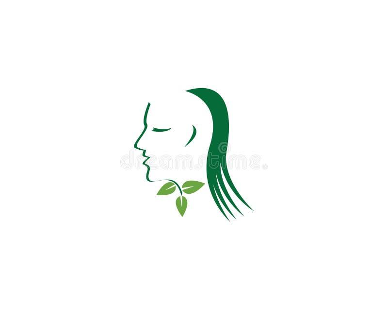 Mall för logo för brunnsort för framsidakvinnaskönhet stock illustrationer