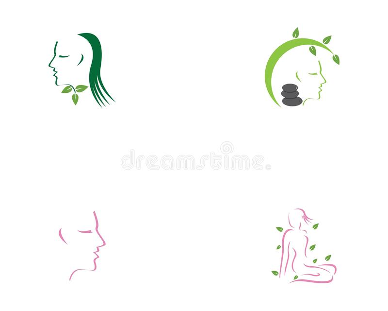 Mall för logo för brunnsort för framsidakvinnaskönhet royaltyfri illustrationer