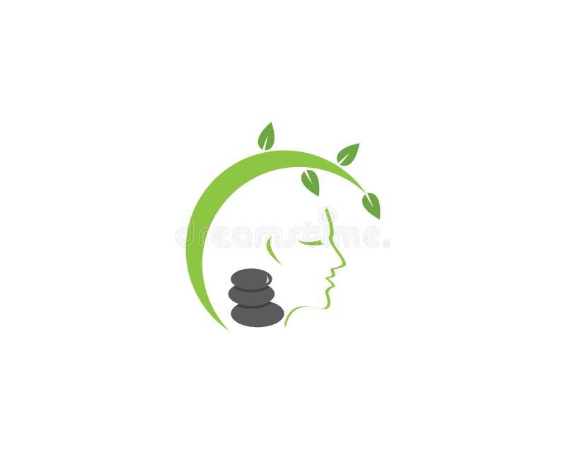 Mall för logo för brunnsort för framsidakvinnaskönhet vektor illustrationer