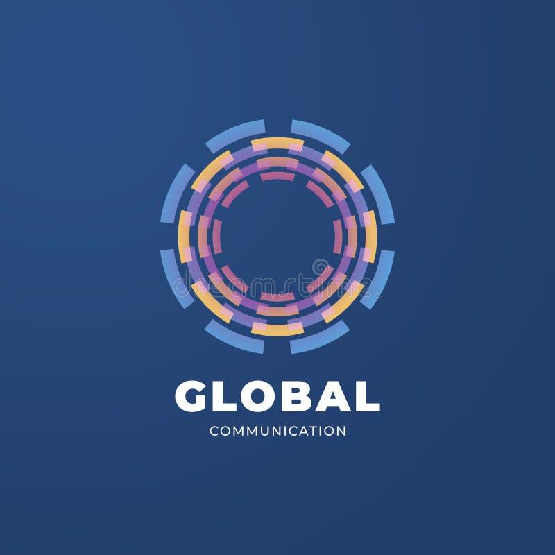 Mall för logo Digital för global kommunikation royaltyfri illustrationer
